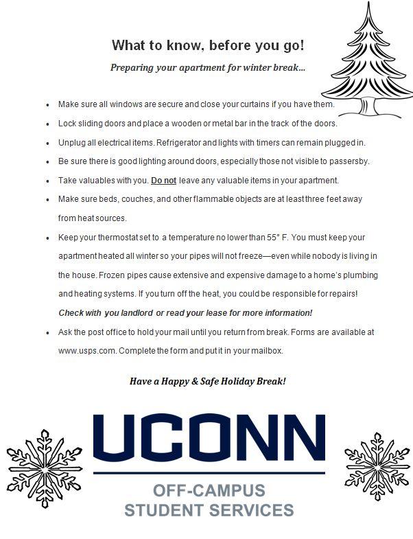 Preparing your apartment for winter break