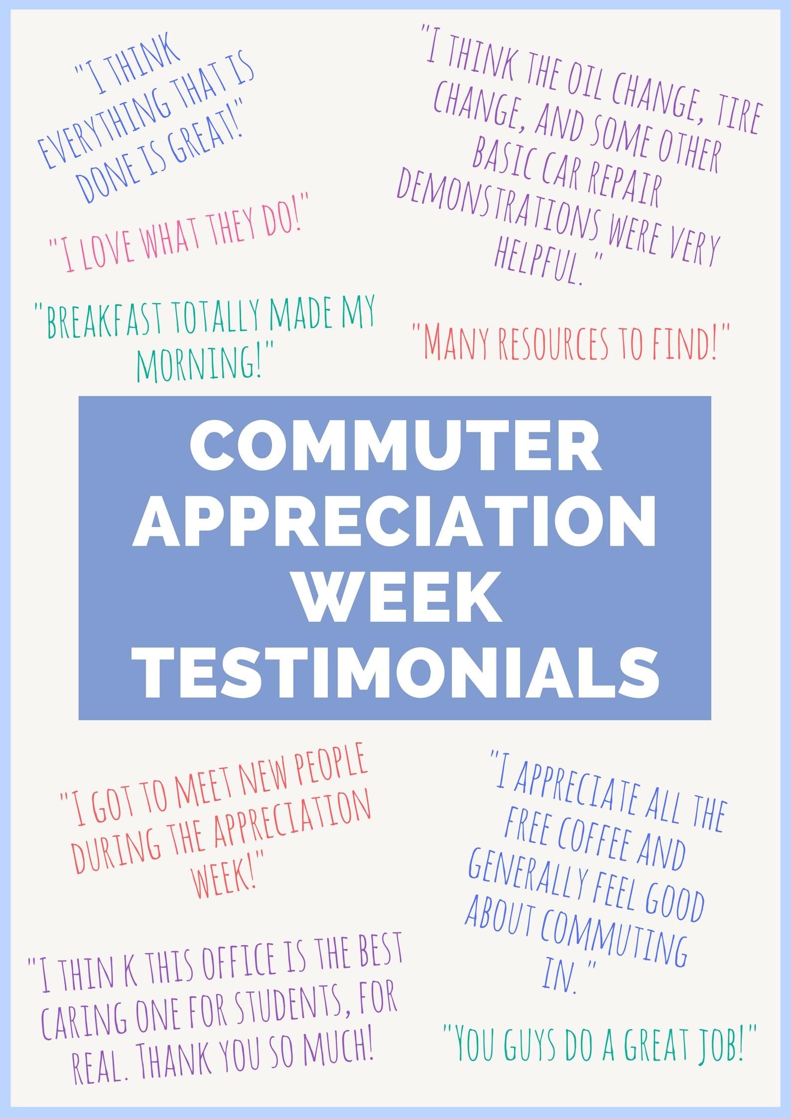 Commuter Appreciation Week Testimonials