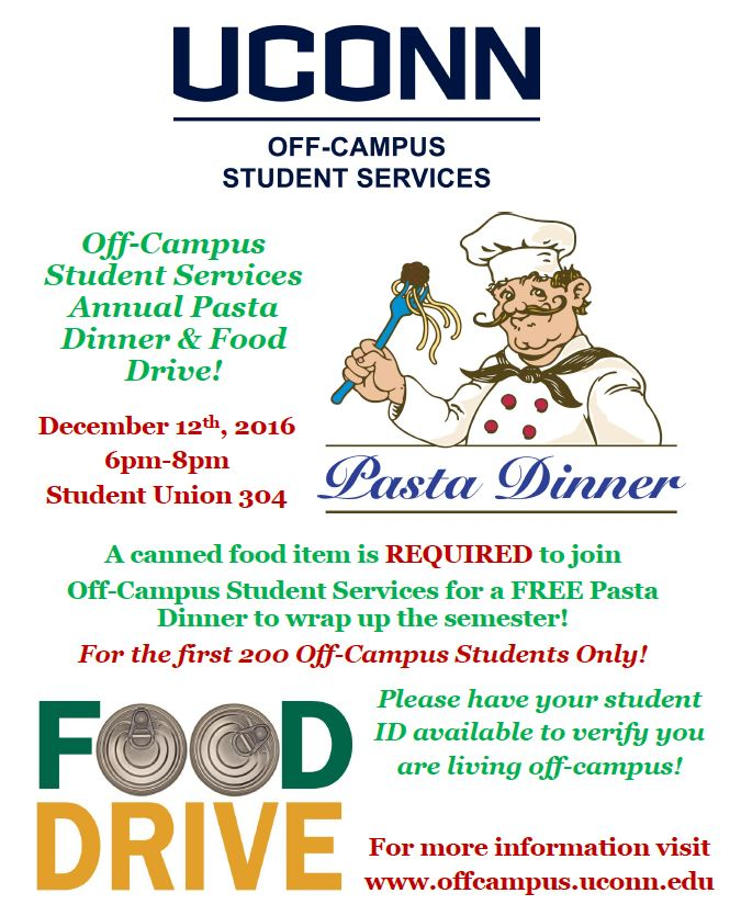 Off-Campus Student Services Annual Pasta Dinner & Food Drive